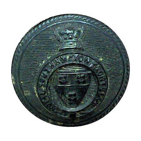 Royal Southampton Yacht Club - Roped Rim 21.5mm - Black with Queen Victoria's Crown. Horn Yacht or Boat Club jacket button