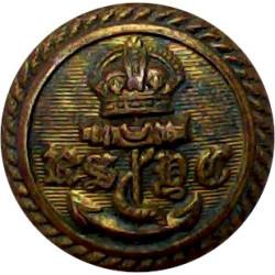 Royal Corinthian Yacht Club - Roped Rim 16mm - Black King's Crown. Horn Yacht or Boat Club jacket button