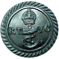 Royal Thames Yacht Club - Unlined - Roped Rim 16mm - Black with King's Crown. Horn Yacht or Boat Club jacket button
