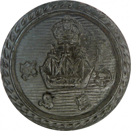 Royal Solent Yacht Club - Roped Rim 16.5mm - Black with King's Crown. Horn Yacht or Boat Club jacket button