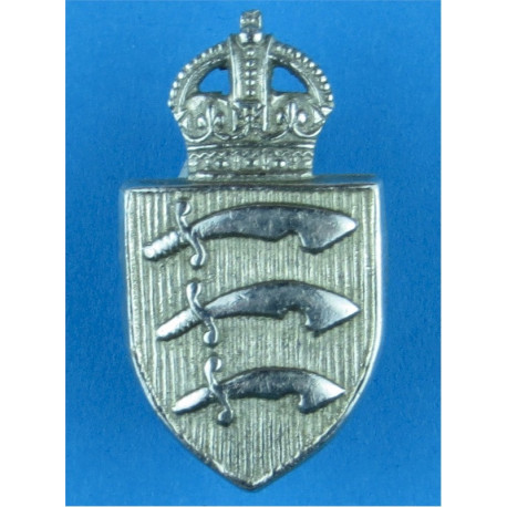 Essex Constabulary Collar Badge Pre-1952 with King's Crown. Chrome-plated UK Police or Prison insignia