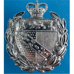 Norfolk Constabulary Collar Badge with Queen Elizabeth's Crown. Chrome-plated UK Police or Prison insignia
