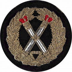 Crossed Tipstaves In Wreath - Senior Police Officers Rank - Red Crowns with Queen Elizabeth's Crown. Bullion wire-embroidered UK