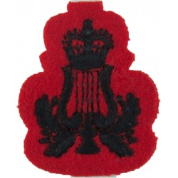 Lyre & Crown (Musician) - 2nd KEO Gurkha Rifles Black On Red Small with Queen Elizabeth's Crown. Embroidered Musician, piper, dr
