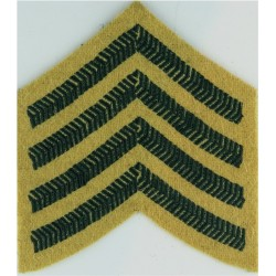 Bugle Major Rank Chevrons 4 Stripes - Light Infantry Green On Maize  Embroidered Musician, piper, drummer or bugler insignia