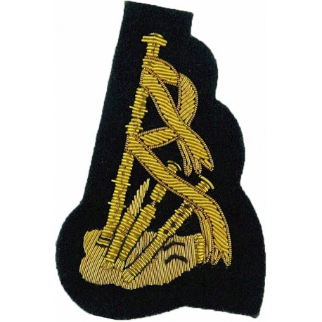 Drum Major's Rank Chevrons 4 Stripes - Mess Dress Gold On White Small  Bullion wire-embroidered Musician, piper, drummer or bugl
