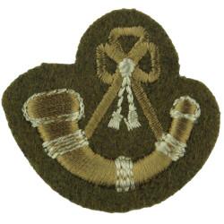 Bugle (Bugler) Mouthpiece FR Khaki On Khaki  Embroidered Musician, piper, drummer or bugler insignia