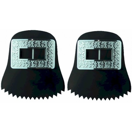 Royal Irish Regiment Pipers Shoe Buckles - Shamrock See REGIMENT 35 P.58  Silver-plated Musician, piper, drummer or bugler insig
