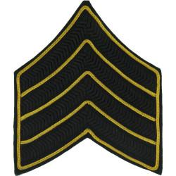 Bugle Major Rank Chevrons 4 Stripes - RGJ Black/ Gold On Green  Bullion wire-embroidered Musician, piper, drummer or bugler insi
