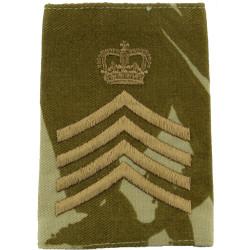 Drum Major - Crown/ 4 Stripes - On Desert Camouflage Rank Slide with Queen Elizabeth's Crown. Embroidered Musician, piper, drumm