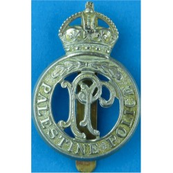Palestine Police Cap Badge  with King's Crown. White Metal Overseas Police, Prison or Corrections insignia