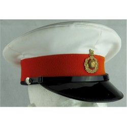 Beret: Royal Marines Band - Navy Blue With Badge & Red Dome Backing Queen's Crown. Bronze Hat, cap or helmet