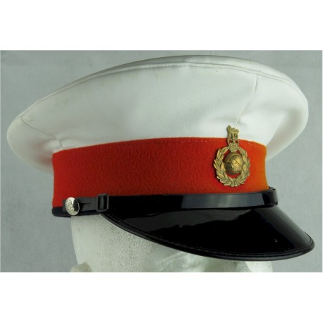 Beret: Royal Marines Band - Navy Blue With Badge & Red Dome Backing with Queen Elizabeth's Crown. Bronze Hat, cap or helmet